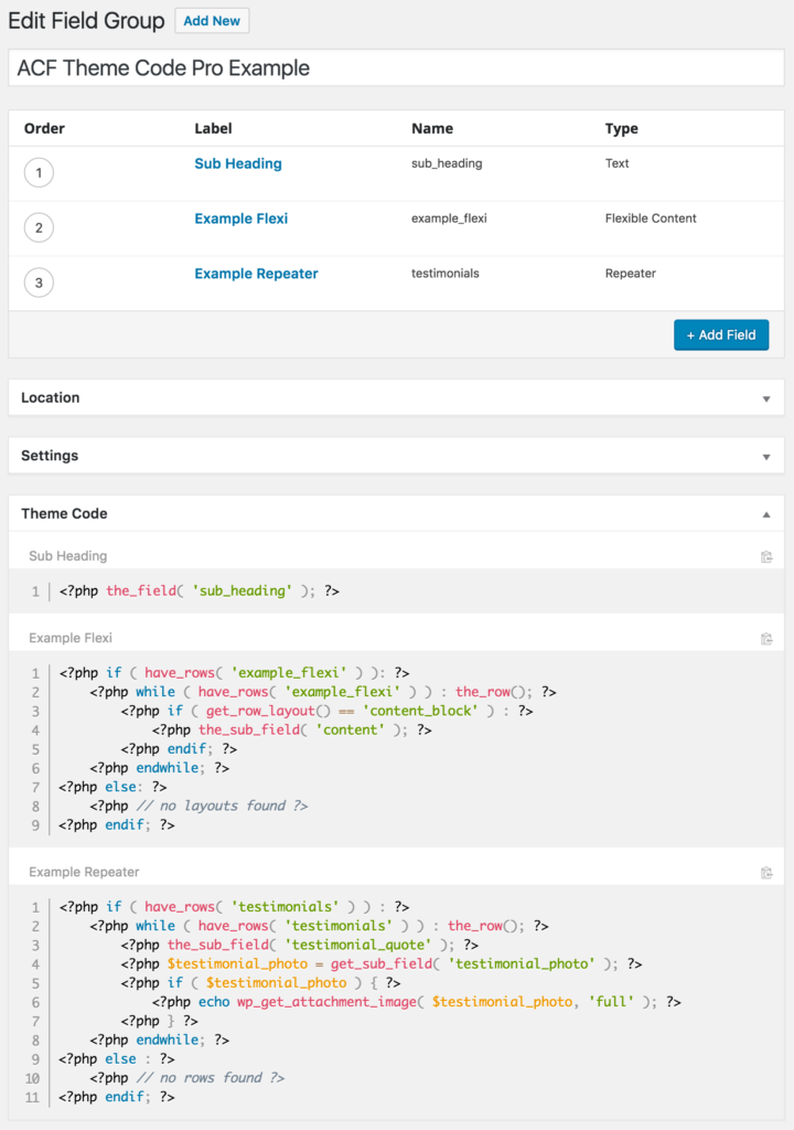 An Example of ACF Theme Code