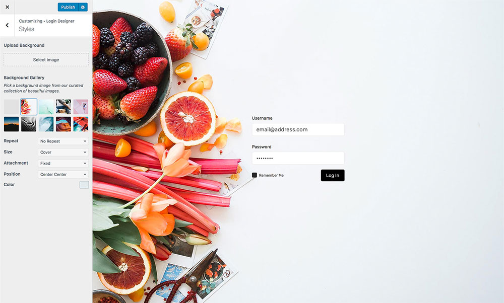 Login Designer Screenshot - Background