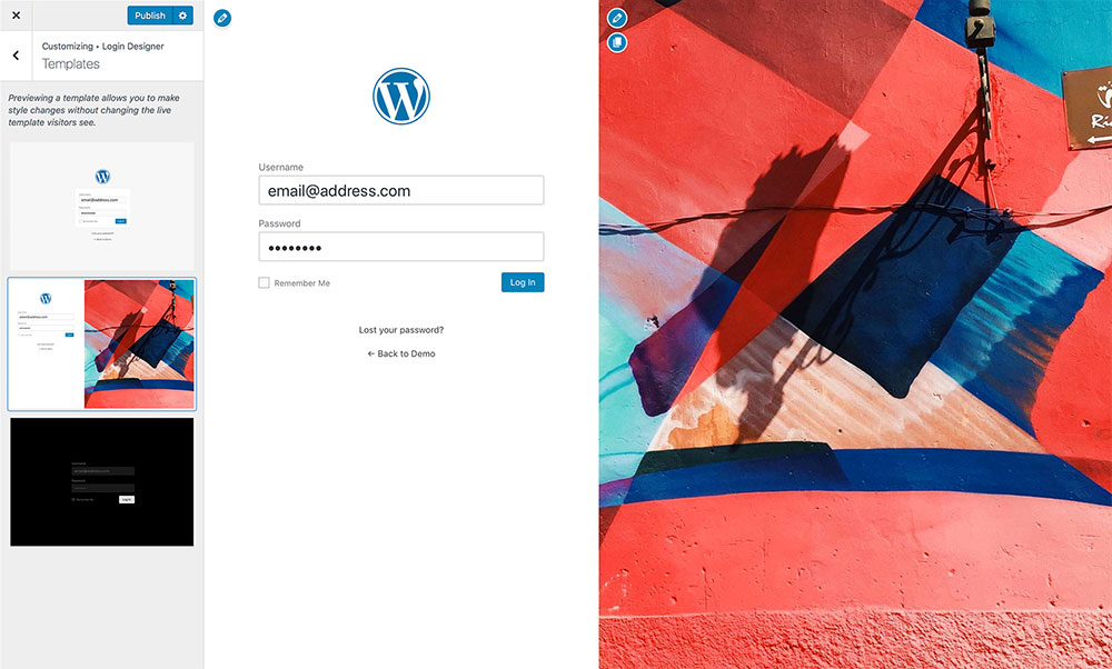 Login Designer Screenshot - Templates