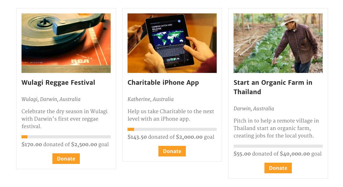 Charitable Screenshot: Campaign List