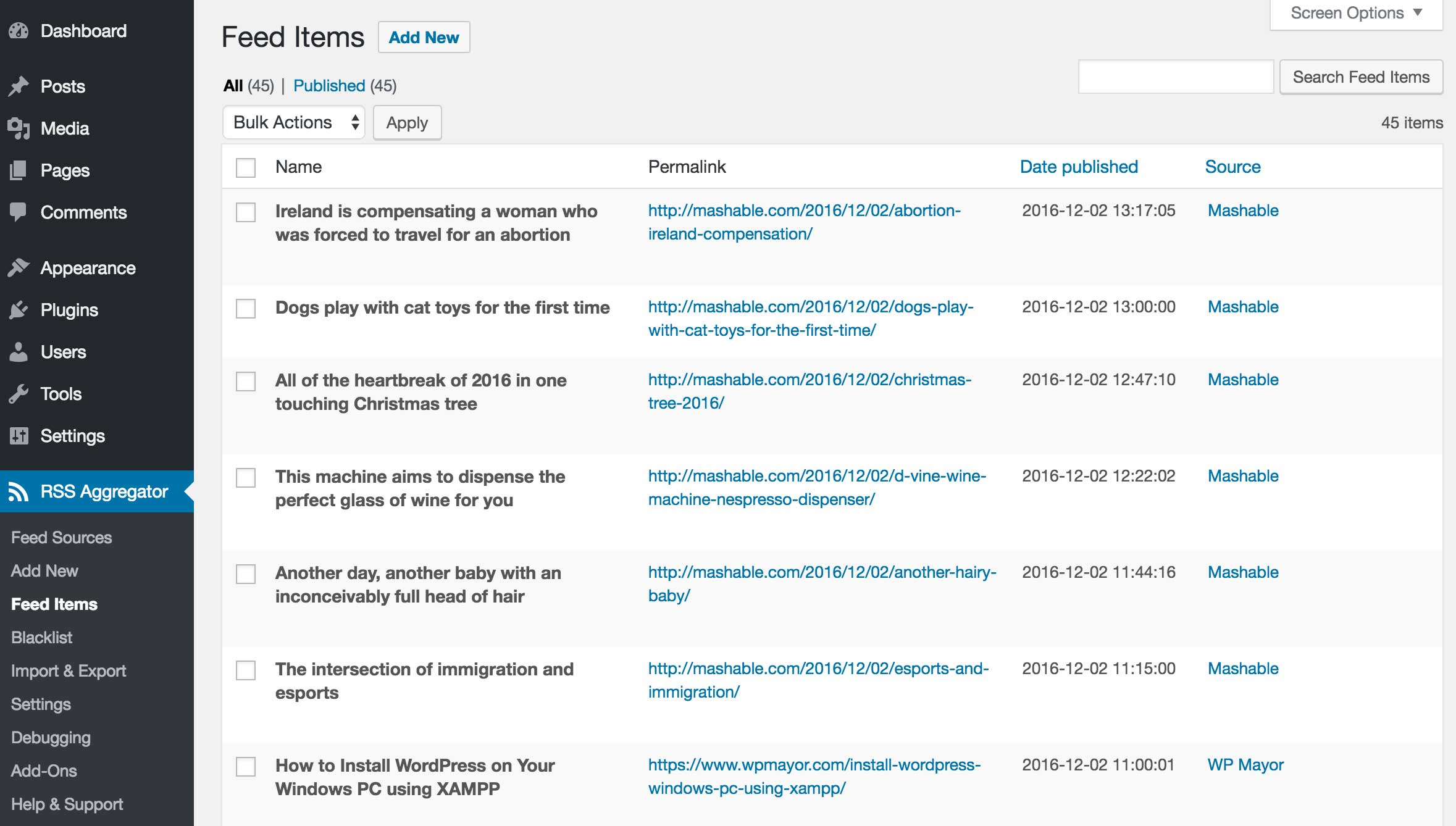 WP RSS Aggregator: Feed Items