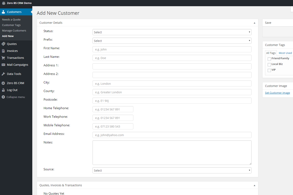 Zero BS CRM Screenshot: Add New Customer