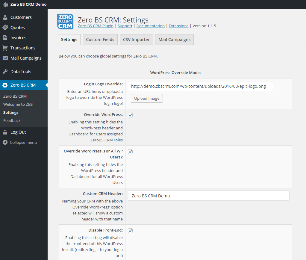Zero BS CRM Screenshot: Settings