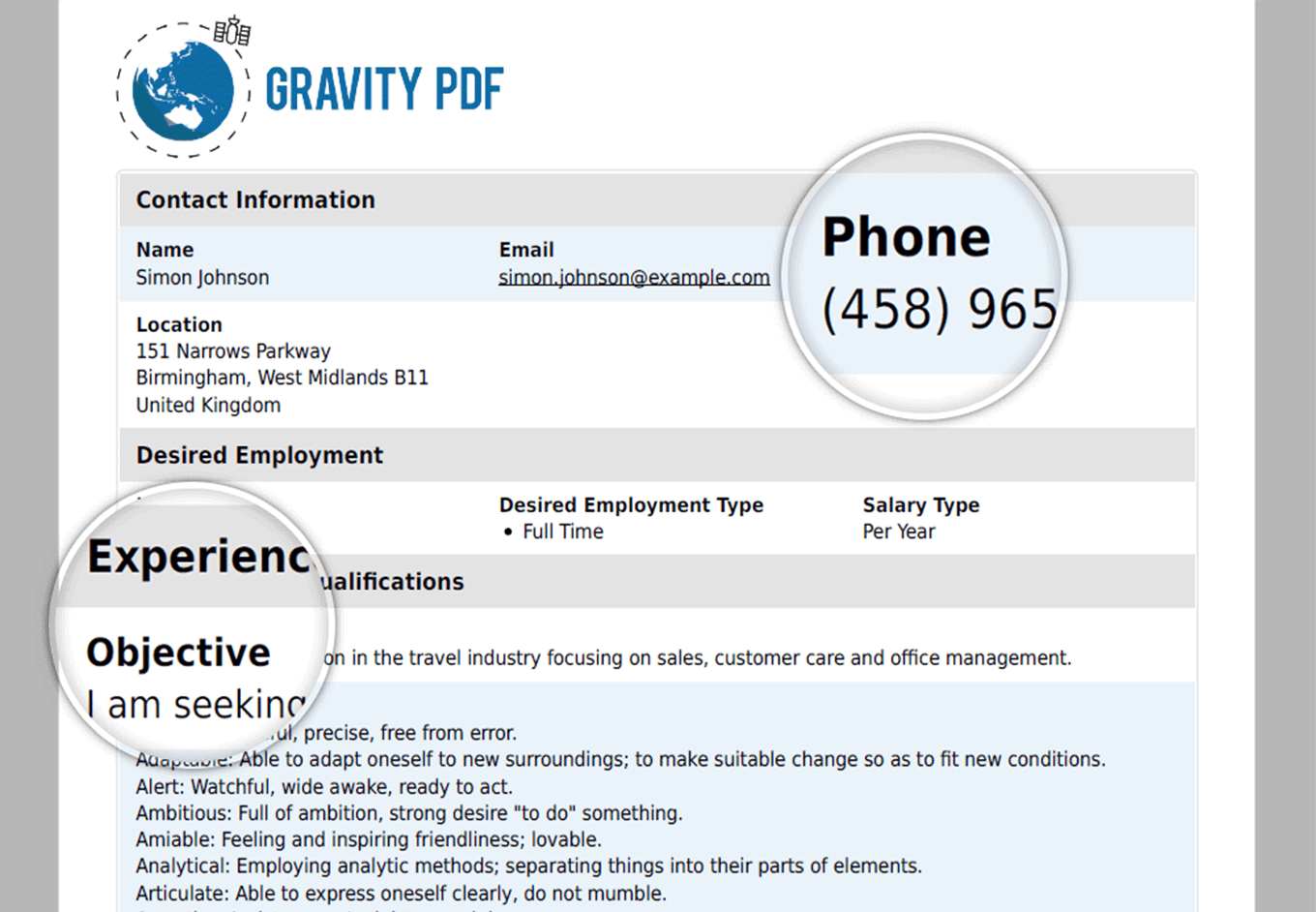 Gravity PDF Screenshot: Focus Template