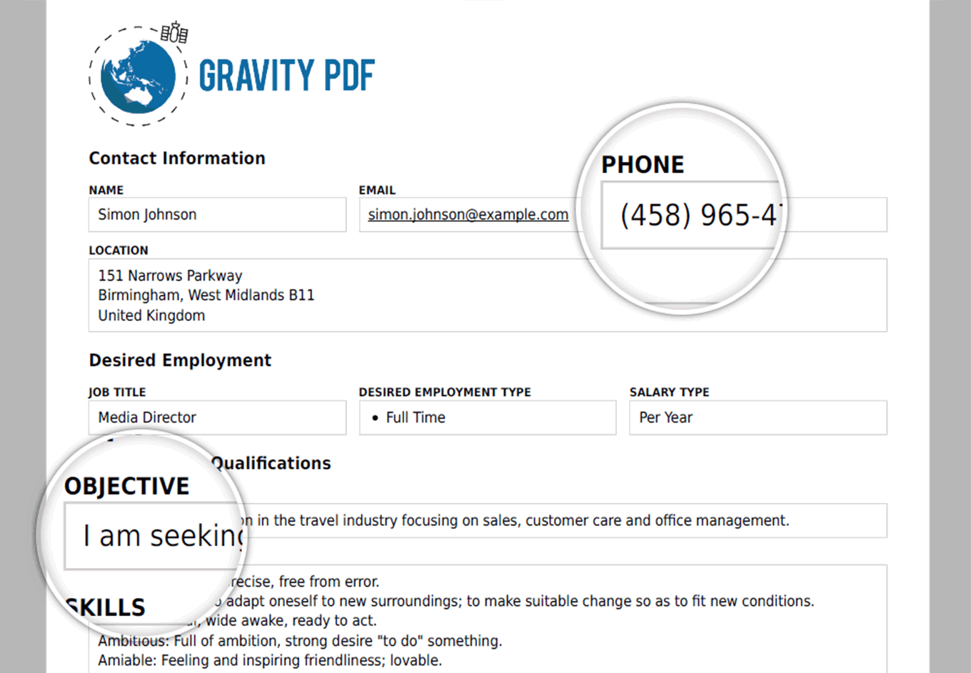 Gravity PDF Screenshot: Zadani Template