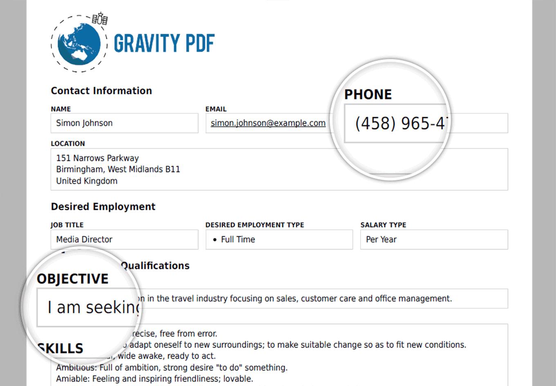 Gravity PDF Screenshot: Zadani Template