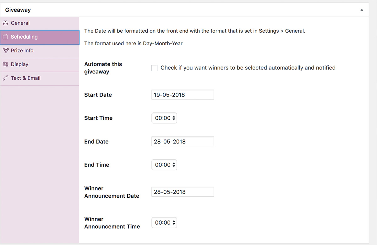 Simple Giveaways Screenshot: Scheduling